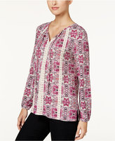 Style&Co. Style & Co. Printed Lace-Trim Top, Only at Macy's