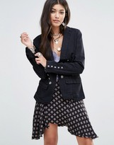 Free People Blazer With Button Detail