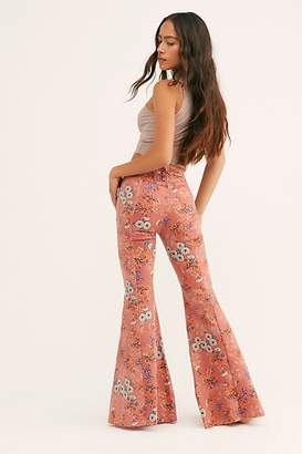 Free People Crvy Printed Super High-Rise Lace-Up Flare Jeans by Denim