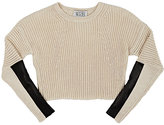 Autumn Cashmere Cotton & Leather Crop Sweater-CREAM