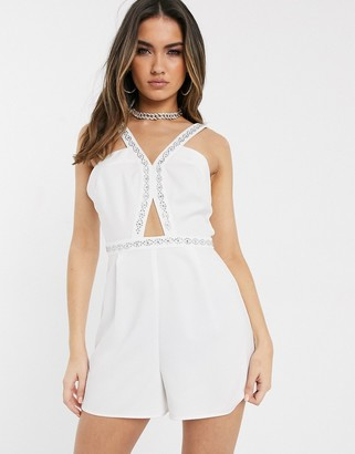 Asos Design DESIGN plunge playsuit with embellished trim straps-White