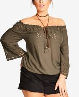 City Chic Trendy Plus Size Off-The-Shoulder Eyelet Top