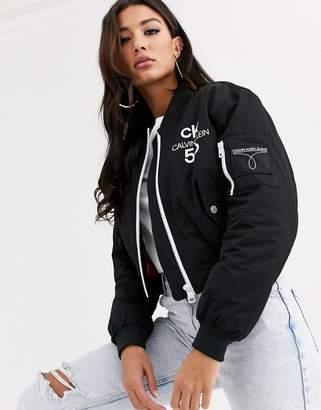Calvin Klein Jeans 50th Anniversary logo cropped bomber jacket-Black