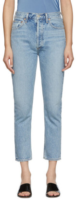AGOLDE Blue Riley High Rise Straight Crop Jeans
