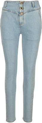 Alessandra Rich Crystal Button High-Waisted Jeans