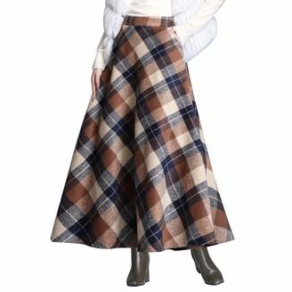 Byqny WanYangg Women's Elastic Fall Winter Plaid Maxi Dress Long Ankle Skirts Umbrella Skirt Flare Vintage Tartan Skirt Flowy Warm Wool Woolen Skirts A-Line Grid Pattern 7#Green L