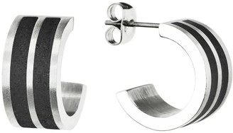 Gravelli Fusion Concrete & Surgical Steel Hoop Earrings Anthracite