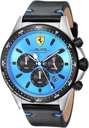 Ferrari Men's Pilota Stainless Steel Quartz Watch with Leather Calfskin Strap Black 22 (Model: 0830388)