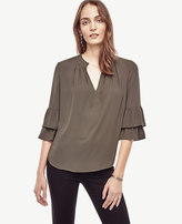 Ann Taylor Tiered Ruffle Sleeve Blouse