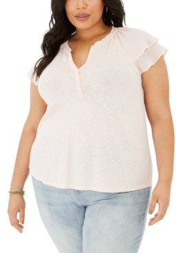 Style&Co. Style & Co Plus Size Flutter-Sleeve Top, Created for Macy's