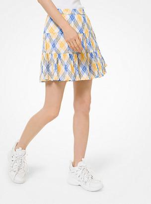 MICHAEL Michael Kors MK Plaid Crinkled Cotton Lawn Skirt - Saffron - Michael Kors