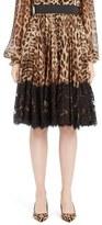 Dolce & Gabbana Lace Overlay Leopard Print Chiffon Full Skirt