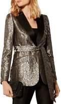 Karen Millen Single-Button Jacquard Blazer