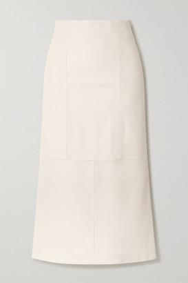 Co Paneled Leather Midi Skirt - Beige
