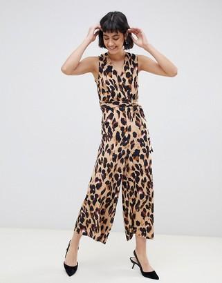 UNIQUE21 leopard print v neck jumpsuit with tie belt