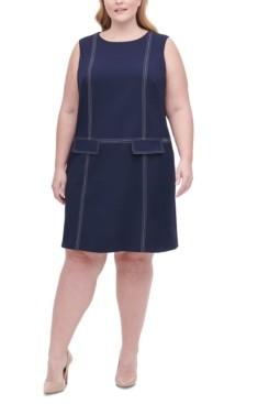 Tommy Hilfiger Plus Size Top-Stitch Scuba Crepe Dress
