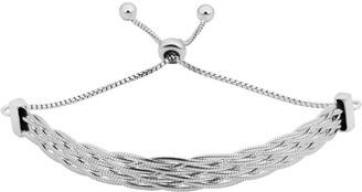 Fremada Italian Rhodium Plated Sterling Silver 6.4 millimeters Braided Herringbone Bolo Bracelet