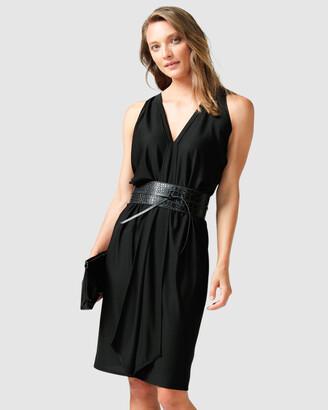 SACHA DRAKE - Women's Black Dresses - Column Drape Dress - Size One Size, 12 at The Iconic