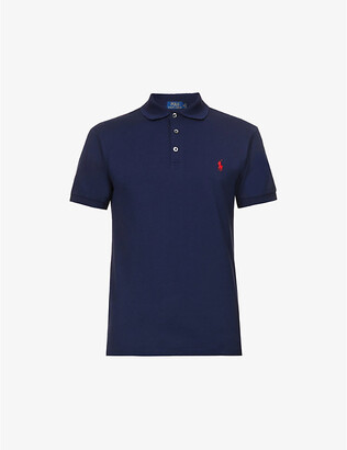 Polo Ralph Lauren Mens French Navy Blue Embroidered Slim-Fit Cotton-Pique Shirt, Size: M