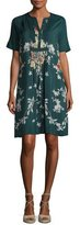 Johnny Was Phipps Short-Sleeve Henley Printed Dress W/ Slip