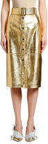 MSGM Metallic Belted Midi Skirt
