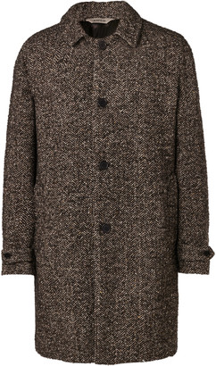 Aspesi Herringbone Melange Wool-Blend Coat