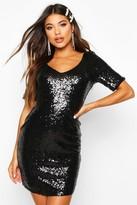 boohoo Hollie Sequin Short Sleeve Bodycon Dress