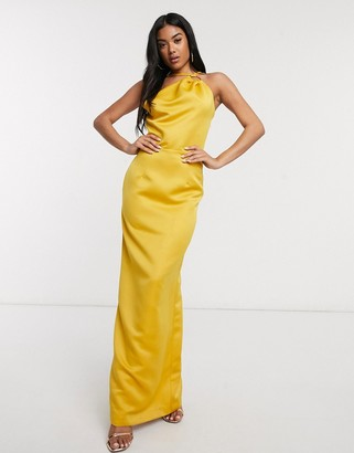 Yaura satin coloumn maxi dress with strappy back in marigold