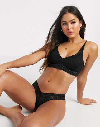 aerie lace trim thong in black
