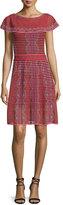 M Missoni Cap-Sleeve Scallop-Striped Dress, Red