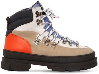 Ganni 45mm Cotton Hiking Boots
