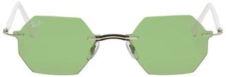 Ray-Ban Green and White Rimless Hexagon Sunglasses