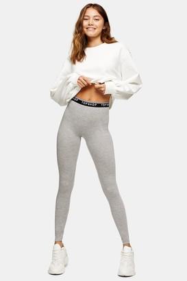 Topshop Womens Grey Marl Branded Elasticated Leggings - Grey Marl