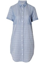 Frame Le Short Sleeve Shirt Dress Robins Egg Blue