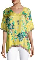 Johnny Was Nancy Floral-Print Silk Habutai Top, Plus Size