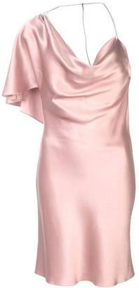 Cushnie Silk One-shoulder Mini Dress Woodrose