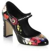 Dolce & Gabbana Floral-Painted Mary Jane Pumps