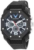 U.S. Air Force Men's Analog-Digital Chronograph Black Silicone Strap Watch by Wrist Armor