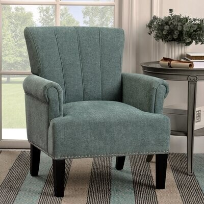 Thumbnail for your product : Red Barrel Studio Accent Rivet Tufted Polyester Armchair ,Navy Blue