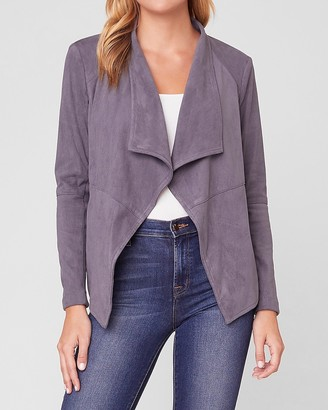 Express Bb Dakota Drape Front Faux Suede Jacket