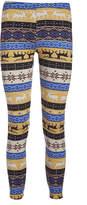 Yellow & Blue Fair Isle Fleece-Lined Leggings