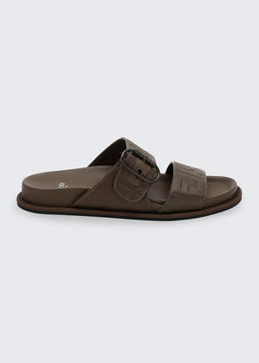 Fendi FF Flat Double-Strap Buckle Sandals