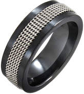 JCPenney FINE JEWELRY Black Ceramic & Stainless Steel Mesh Band