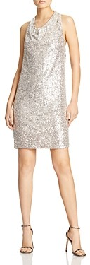 Halston Cowl Neck Draped Sequin Dress
