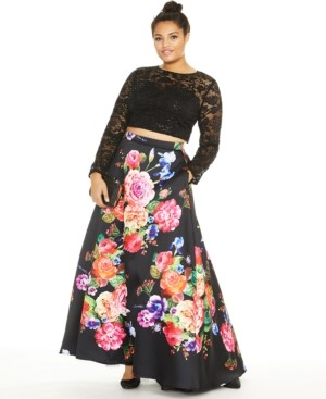 B. Darlin Trendy Plus Size 2-Pc. Sequined Lace & Floral-Print Gown, Created for Macy's