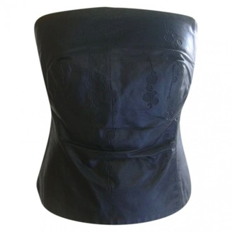 Plein Sud Jeans Black Leather Top for Women Vintage