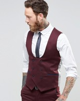 Noose & Monkey Waistcoat With Stretch And Piping In Super Skinny Fit
