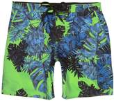 River Island Mens Green palm print swim shorts