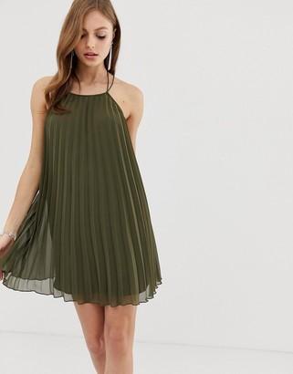 Asos Design DESIGN mini trapeze pleat dress-Green