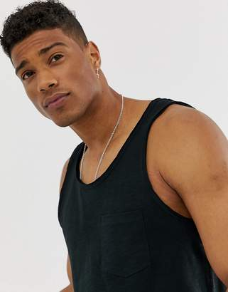 Jack and Jones Originals tank with raw hem details in black